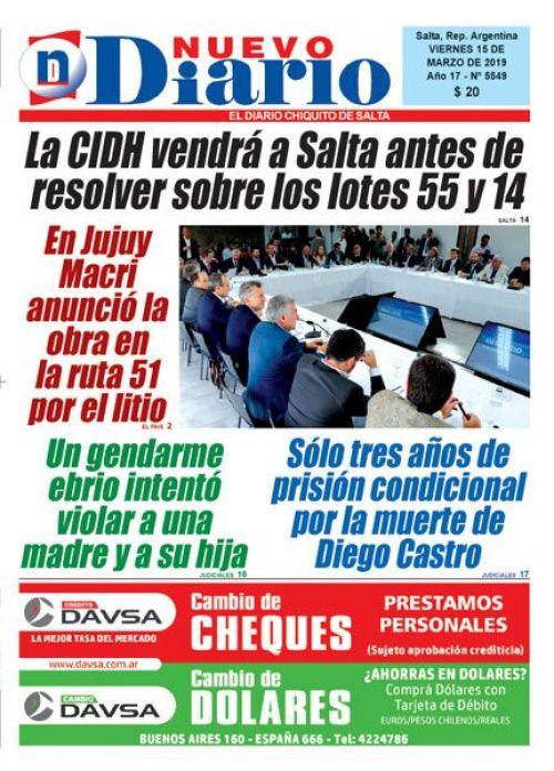 Tapa del 15/03/2019 Nuevo Diario de Salta