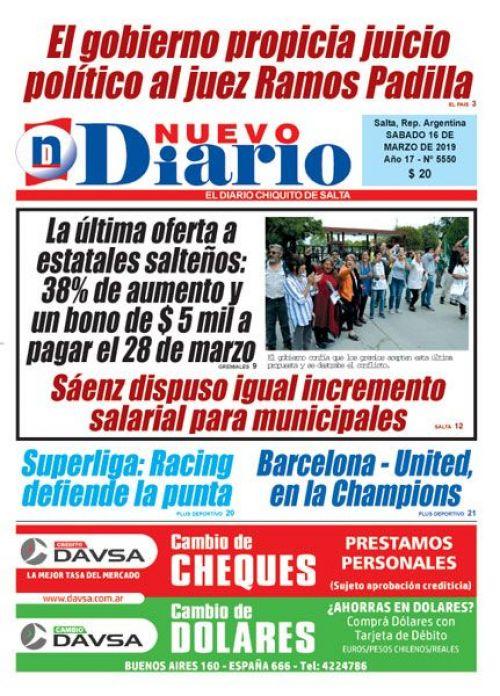 Tapa del 16/03/2019 Nuevo Diario de Salta