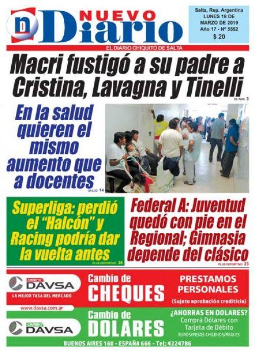 Tapa del 18/03/2019 Nuevo Diario de Salta