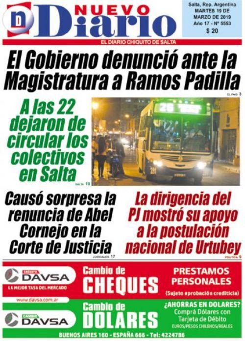 Tapa del 19/03/2019 Nuevo Diario de Salta