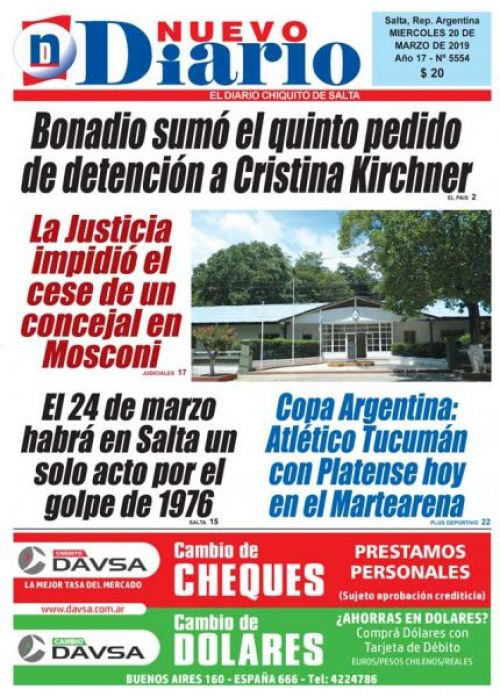 Tapa del 20/03/2019 Nuevo Diario de Salta