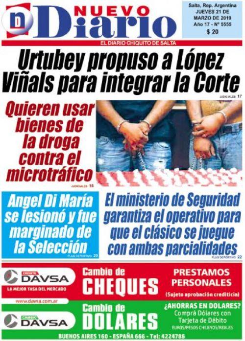 Tapa del 21/03/2019 Nuevo Diario de Salta