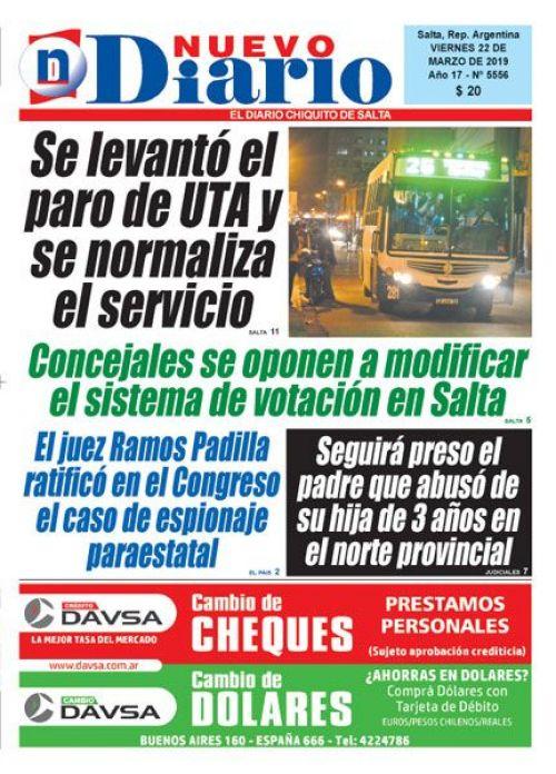 Tapa del 22/03/2019 Nuevo Diario de Salta