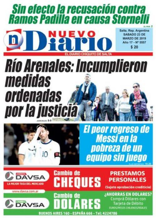 Tapa del 23/03/2019 Nuevo Diario de Salta