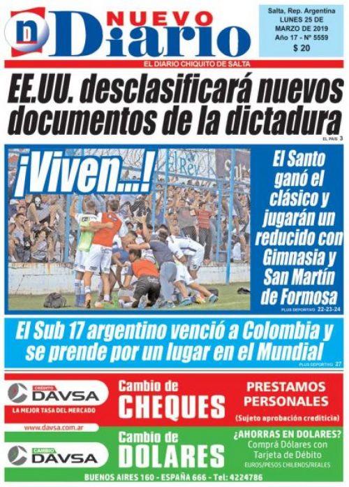 Tapa del 25/03/2019 Nuevo Diario de Salta