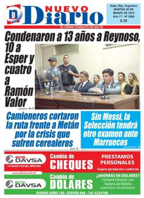 Tapa del 26/03/2019 Nuevo Diario de Salta