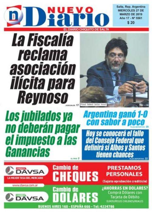 Tapa del 27/03/2019 Nuevo Diario de Salta