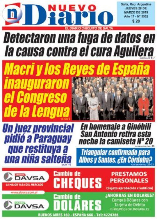 Tapa del 28/03/2019 Nuevo Diario de Salta
