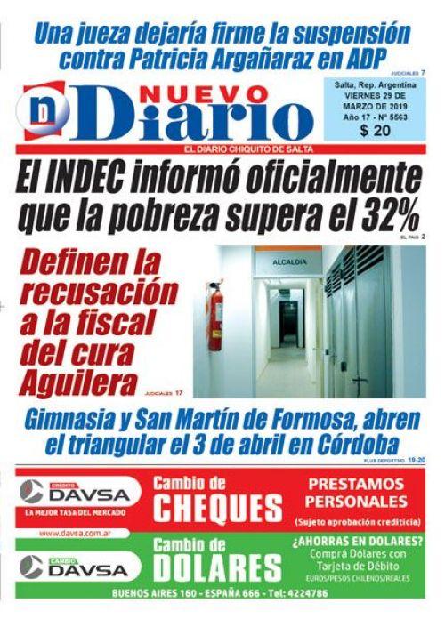 Tapa del 29/03/2019 Nuevo Diario de Salta