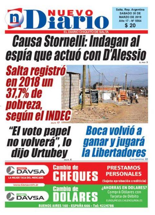 Tapa del 30/03/2019 Nuevo Diario de Salta