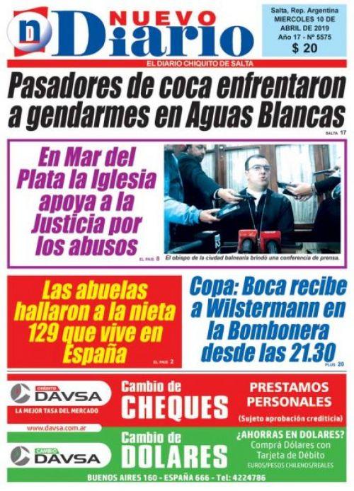 Tapa del 10/04/2019 Nuevo Diario de Salta