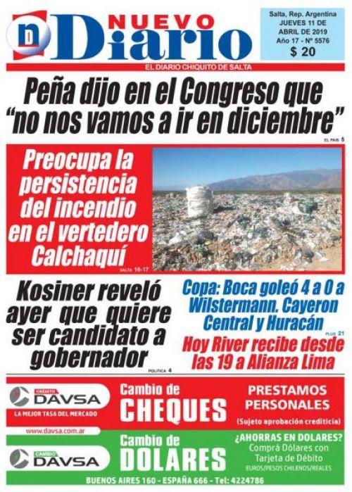 Tapa del 11/04/2019 Nuevo Diario de Salta