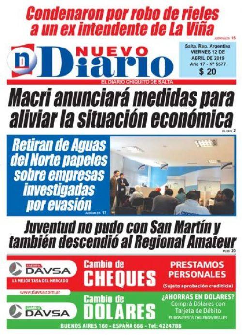 Tapa del 12/04/2019 Nuevo Diario de Salta