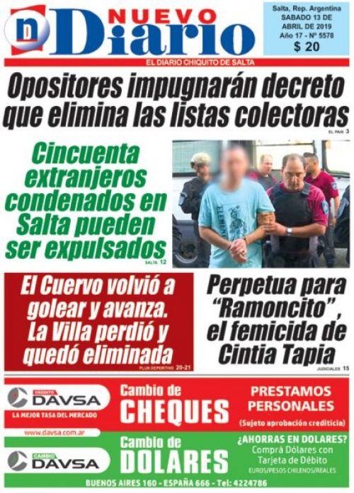 Tapa del 13/04/2019 Nuevo Diario de Salta