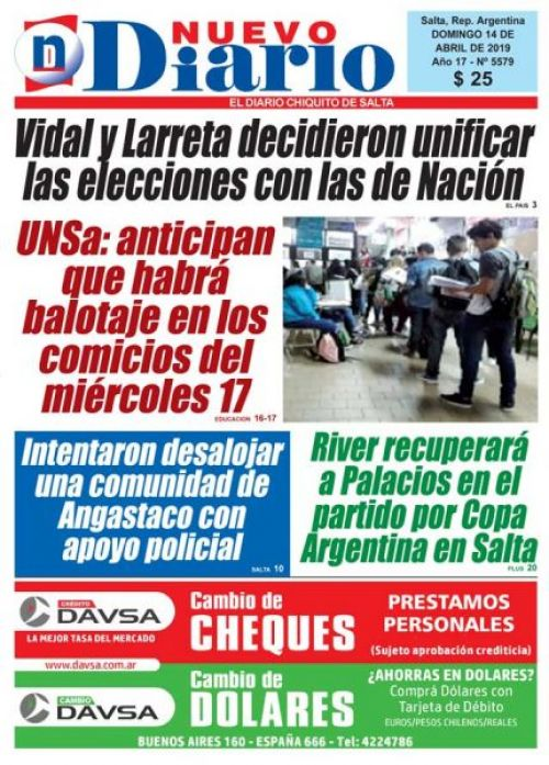 Tapa del 14/04/2019 Nuevo Diario de Salta