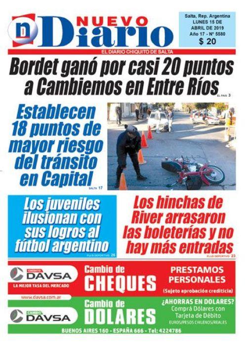 Tapa del 15/04/2019 Nuevo Diario de Salta