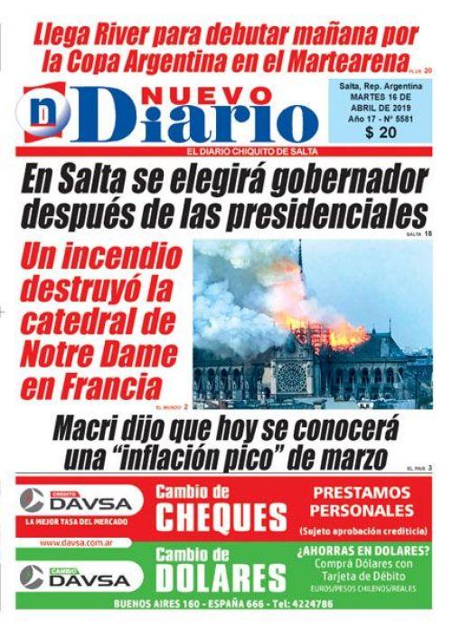 Tapa del 16/04/2019 Nuevo Diario de Salta