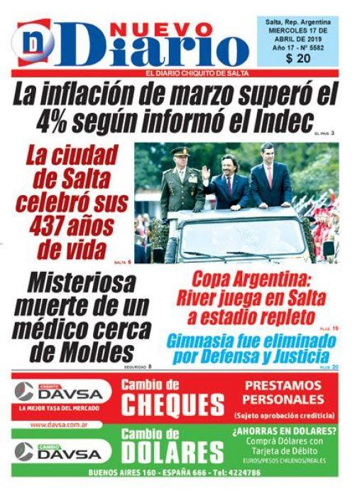 Tapa del 17/04/2019 Nuevo Diario de Salta