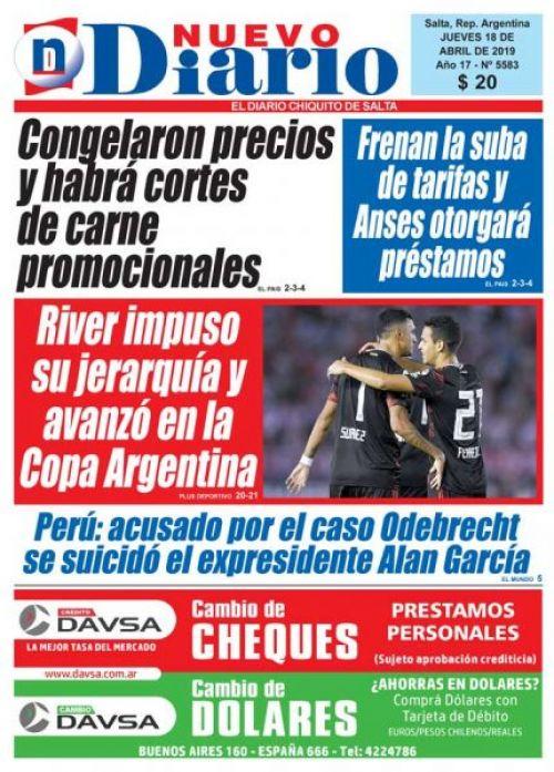 Tapa del 18/04/2019 Nuevo Diario de Salta