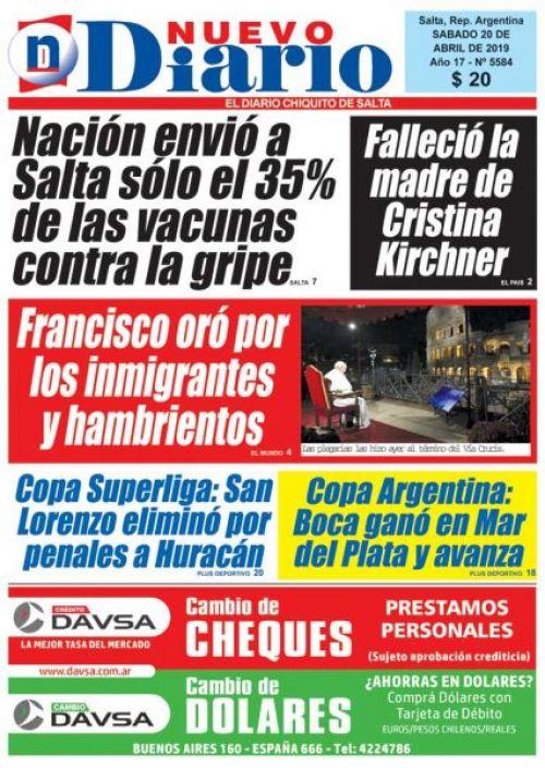 Tapa del 20/04/2019 Nuevo Diario de Salta