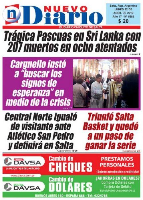 Tapa del 22/04/2019 Nuevo Diario de Salta