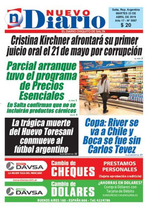 Tapa del 23/04/2019 Nuevo Diario de Salta