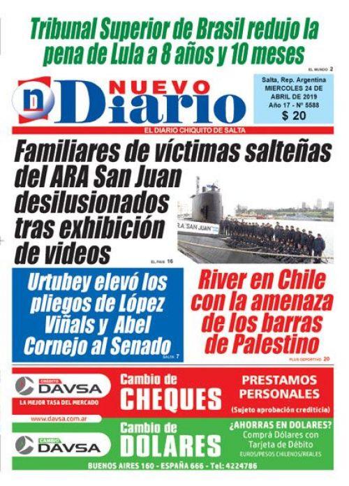 Tapa del 24/04/2019 Nuevo Diario de Salta