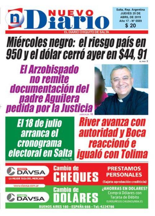 Tapa del 25/04/2019 Nuevo Diario de Salta