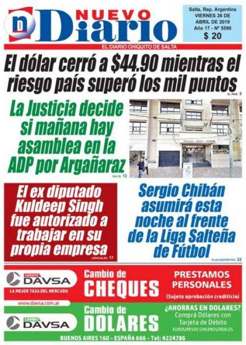 Tapa del 26/04/2019 Nuevo Diario de Salta
