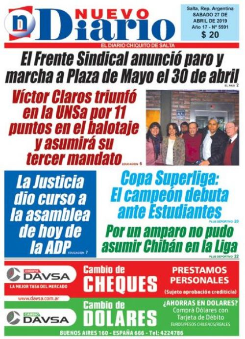Tapa del 27/04/2019 Nuevo Diario de Salta