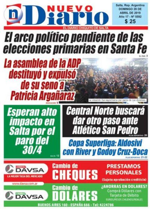 Tapa del 28/04/2019 Nuevo Diario de Salta