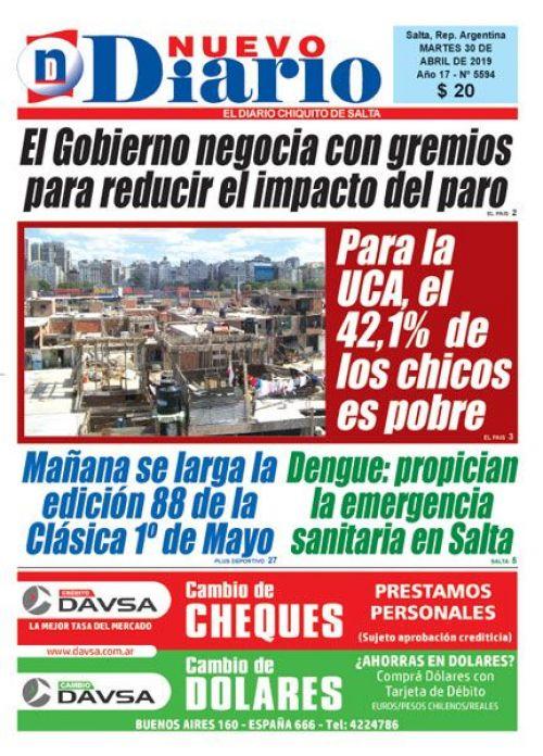 Tapa del 30/04/2019 Nuevo Diario de Salta