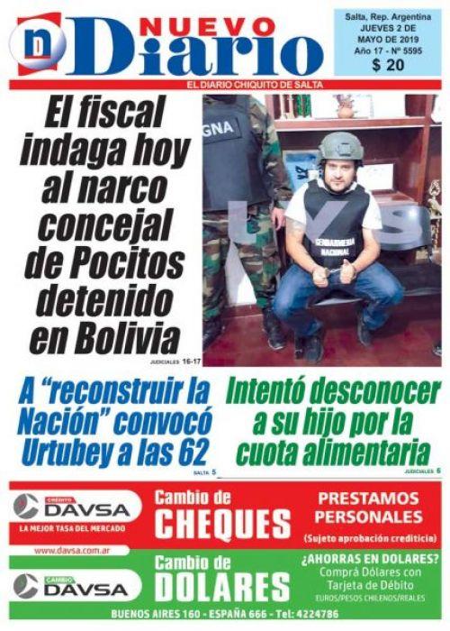Tapa del 02/05/2019 Nuevo Diario de Salta