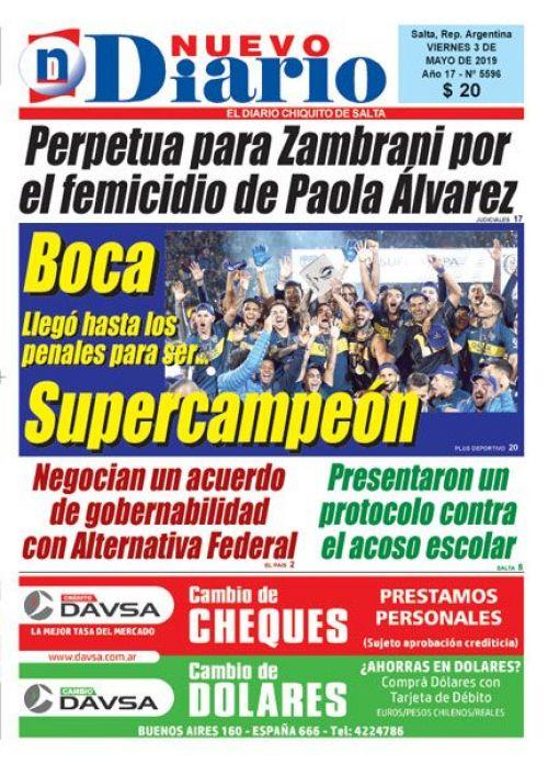 Tapa del 03/05/2019 Nuevo Diario de Salta