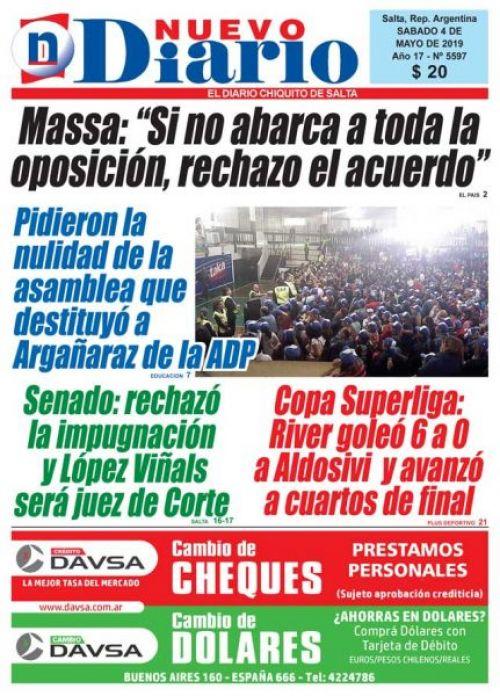 Tapa del 04/05/2019 Nuevo Diario de Salta