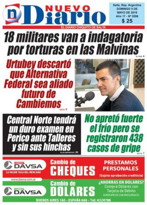 Tapa del 05/05/2019 Nuevo Diario de Salta