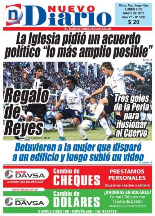 Tapa del 06/05/2019 Nuevo Diario de Salta