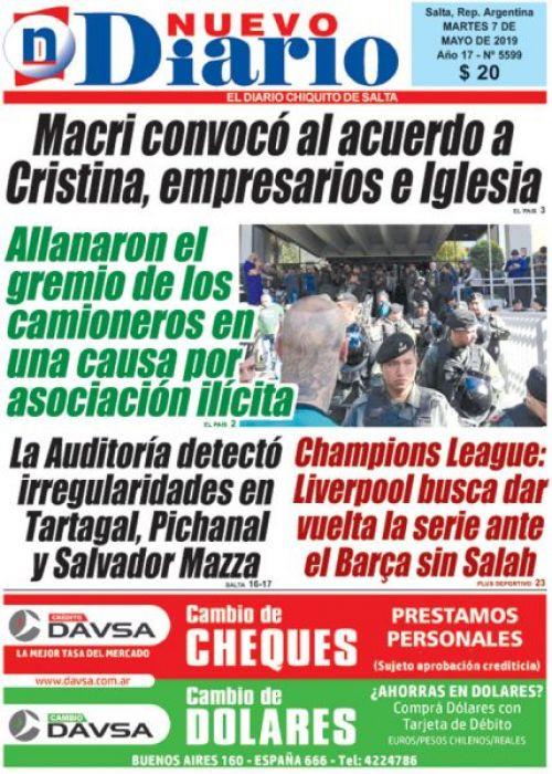 Tapa del 07/05/2019 Nuevo Diario de Salta