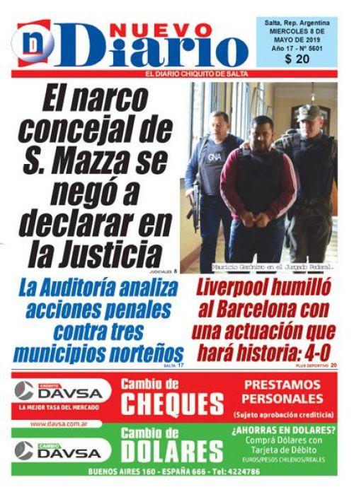 Tapa del 08/05/2019 Nuevo Diario de Salta