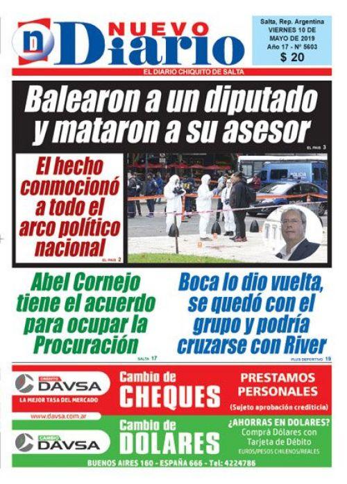 Tapa del 10/05/2019 Nuevo Diario de Salta