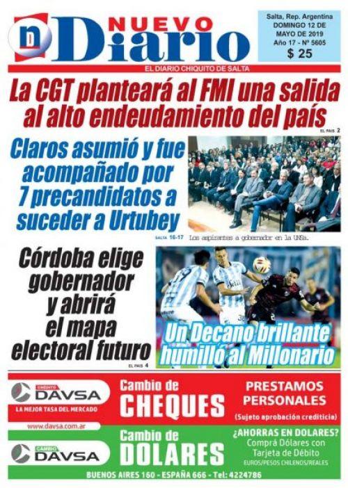 Tapa del 12/05/2019 Nuevo Diario de Salta