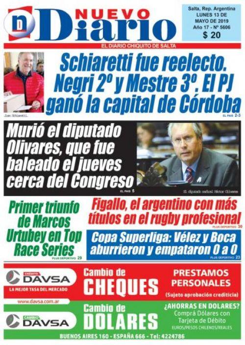 Tapa del 13/05/2019 Nuevo Diario de Salta