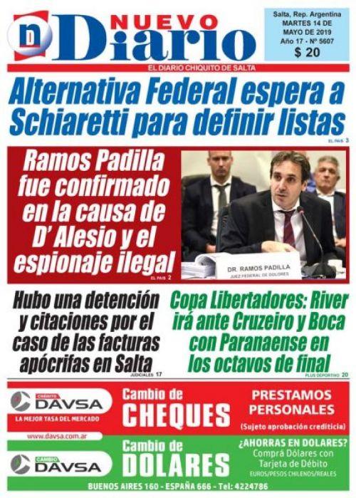 Tapa del 14/05/2019 Nuevo Diario de Salta
