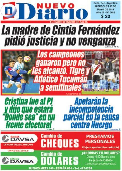 Tapa del 15/05/2019 Nuevo Diario de Salta
