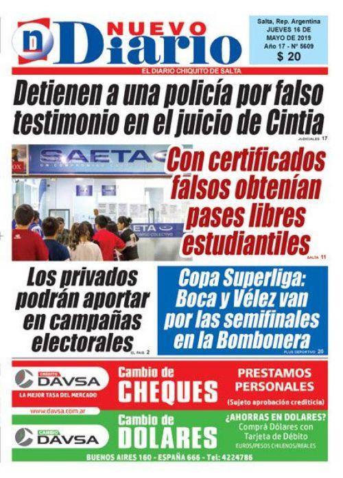 Tapa del 16/05/2019 Nuevo Diario de Salta