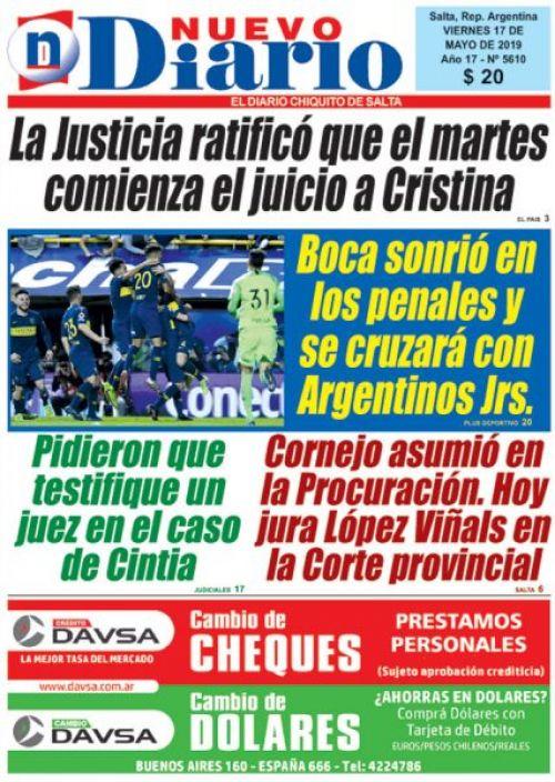 Tapa del 17/05/2019 Nuevo Diario de Salta