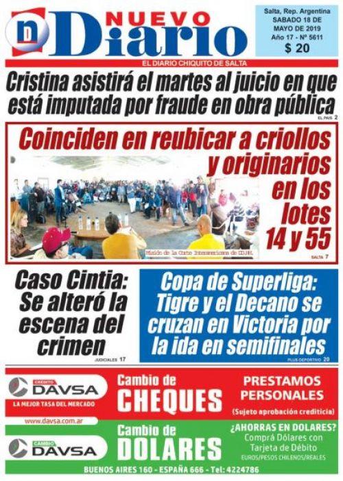 Tapa del 18/05/2019 Nuevo Diario de Salta
