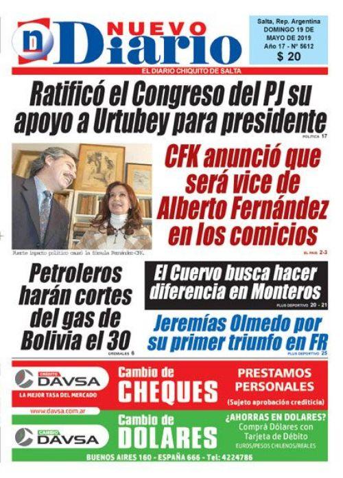 Tapa del 19/05/2019 Nuevo Diario de Salta