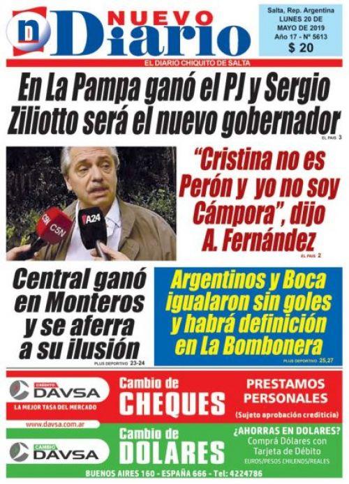 Tapa del 20/05/2019 Nuevo Diario de Salta