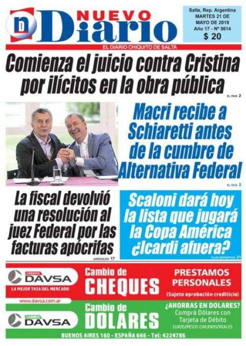 Tapa del 21/05/2019 Nuevo Diario de Salta